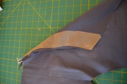Stabilised the five rows of top stitching with woven Interfacing