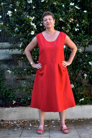 Pia Dress by Tessuti using red linen