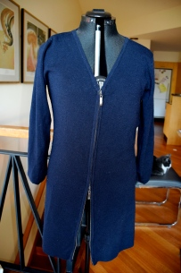 Navy wool zippered dress. Great for wearing as an outer layer of by itself as a dress.