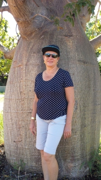Cheryl standing under the Boab tree