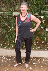 The TWIST re-vamped husband's T. Worn with Burda satin jeans Burda 7863