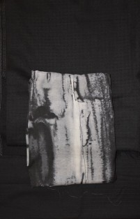 Second 3pac. black slim pants, grey watery poly for a shirt and black wool for knee length jacket.