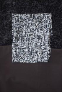 Wild Card pac. Short slim skirt, cream/blue/grey cotton shirt and bumpy wool short jacket.